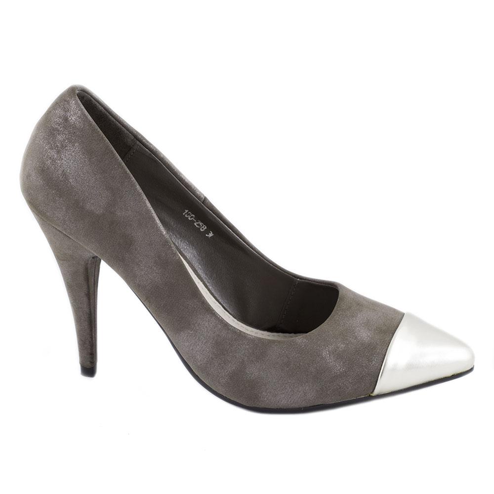 Pantofi dama cu toc 100-258N-GREY