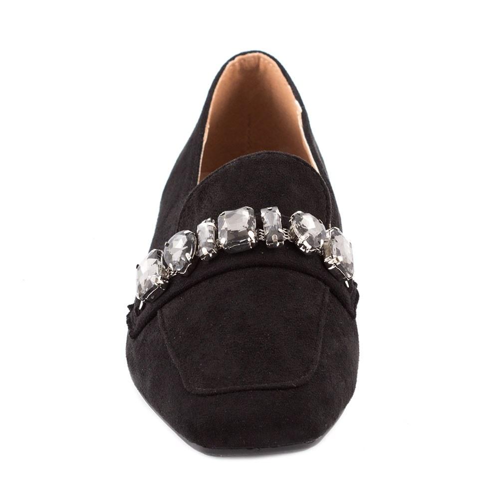 Pantofi dama fara toc cu pietre aplicate KFL-509-NEGRU