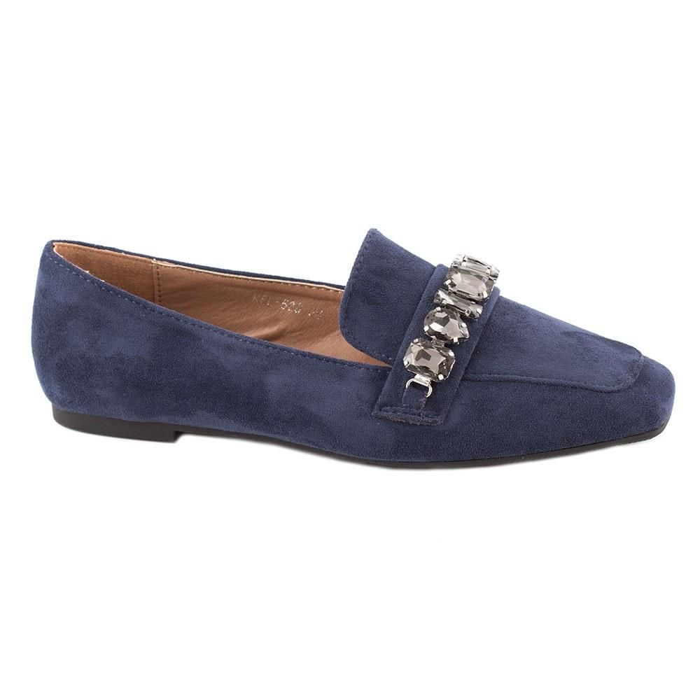 Pantofi dama fara toc cu pietre aplicate KFL-509-NAVY