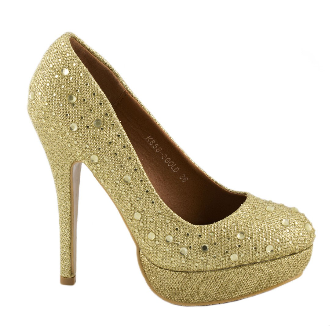 Pantofi dama cu strasuri K858-3-GOLD