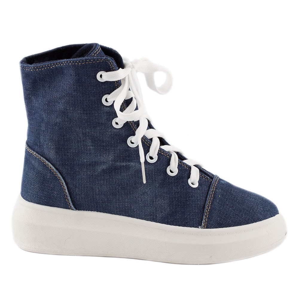 Ghete dama din denim cu siret 221-D.BLUE