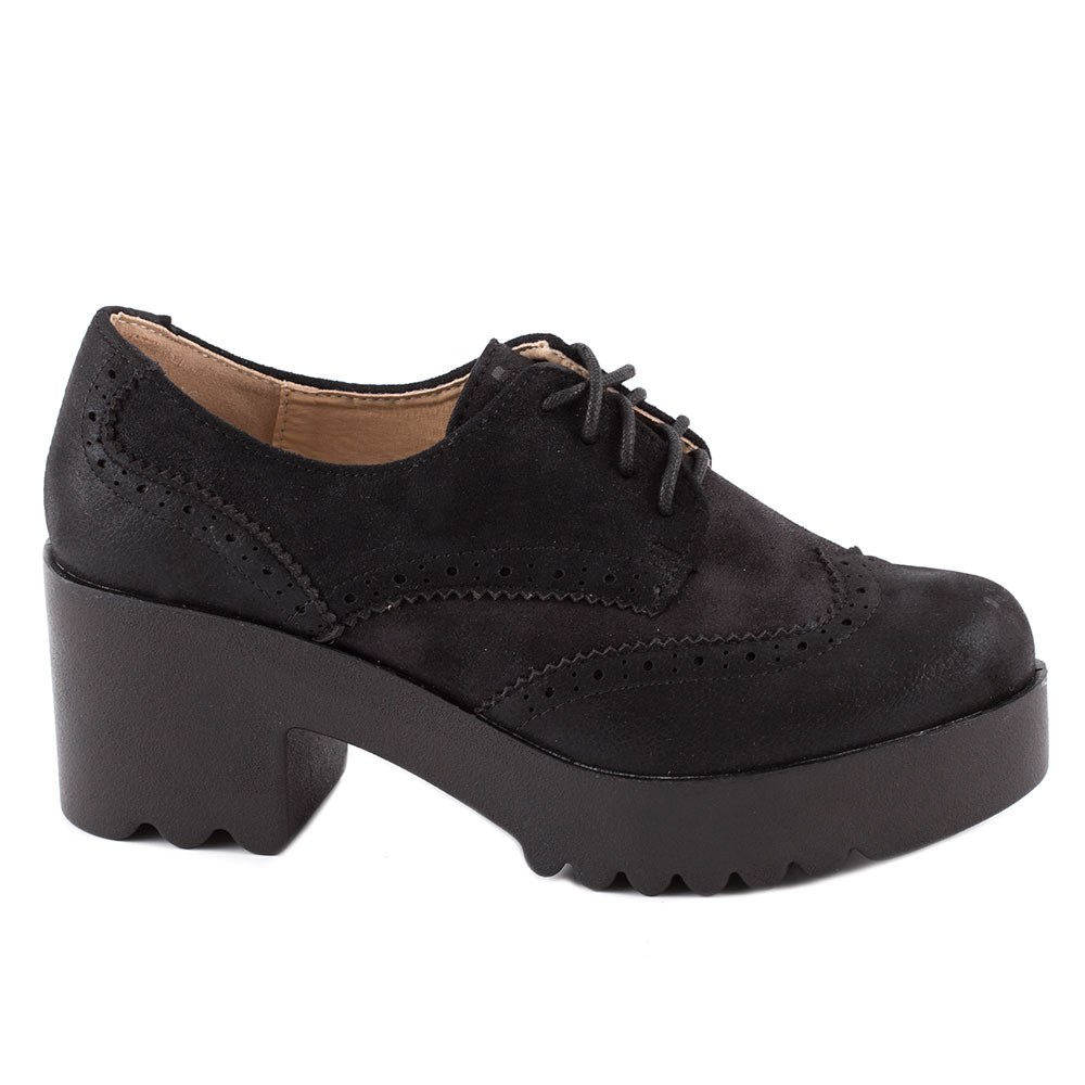 Pantofi de dama cu siret si platforma HBS-19-NEGRU