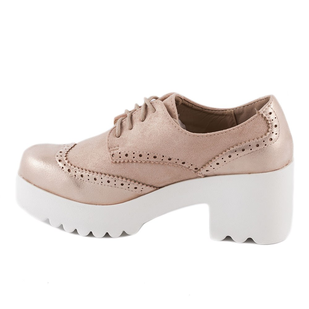 Pantofi de dama cu siret si platforma HBS-19-ROZ