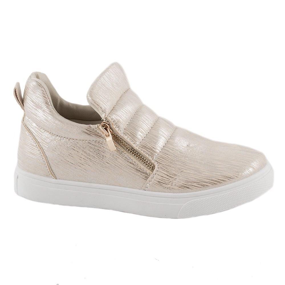Sneakers dama cu fermoare laterale L-231-GOLD