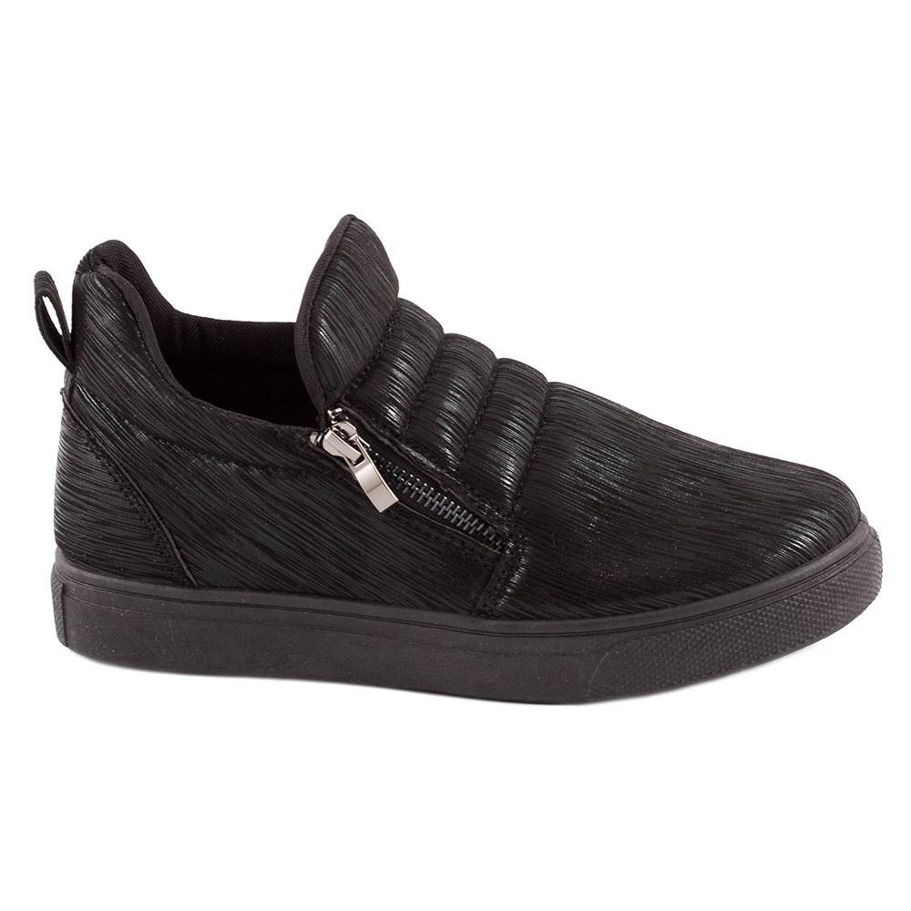 Sneakers dama cu fermoare laterale L-231-NEGRU