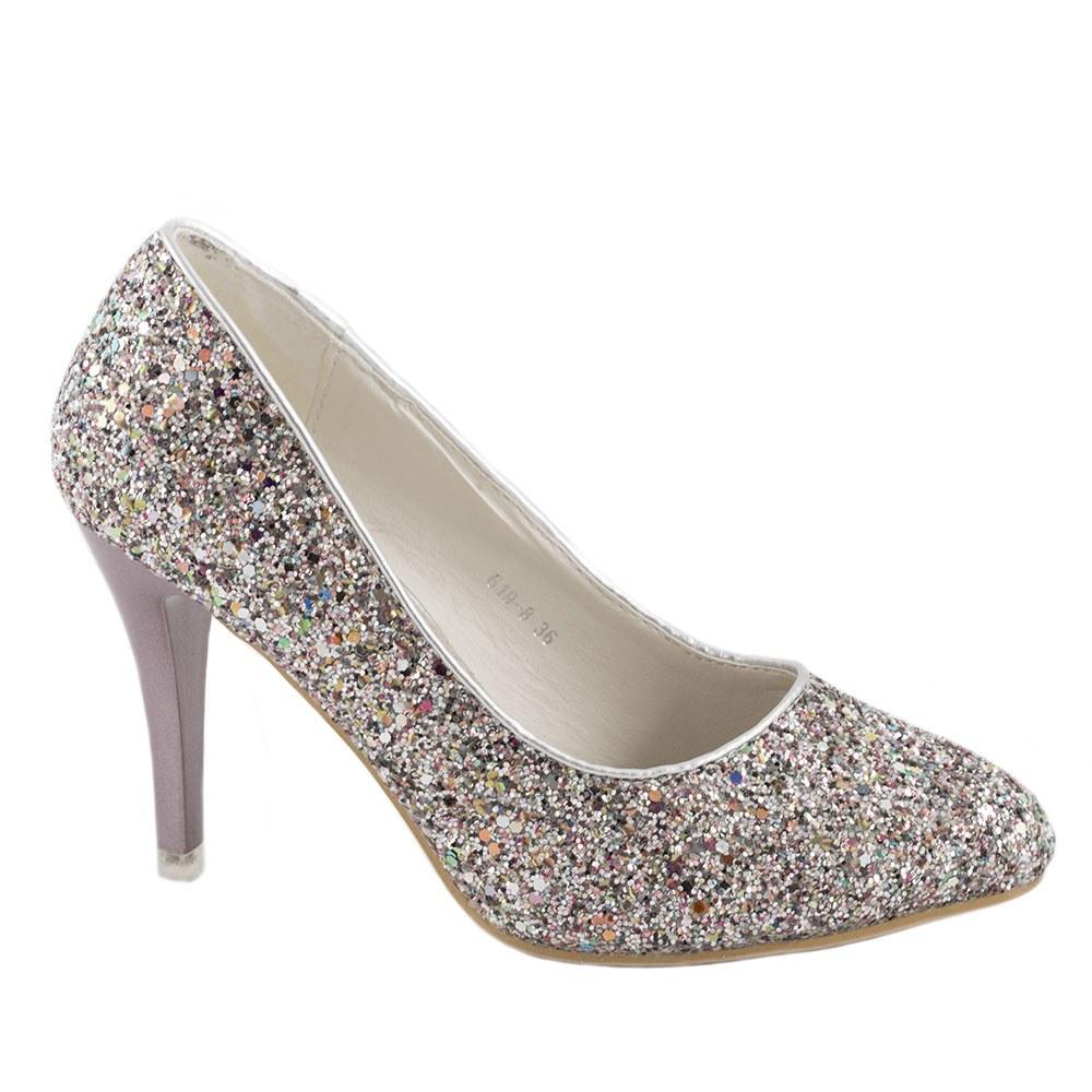 Pantofi de dama eleganti 619-8-SILVER