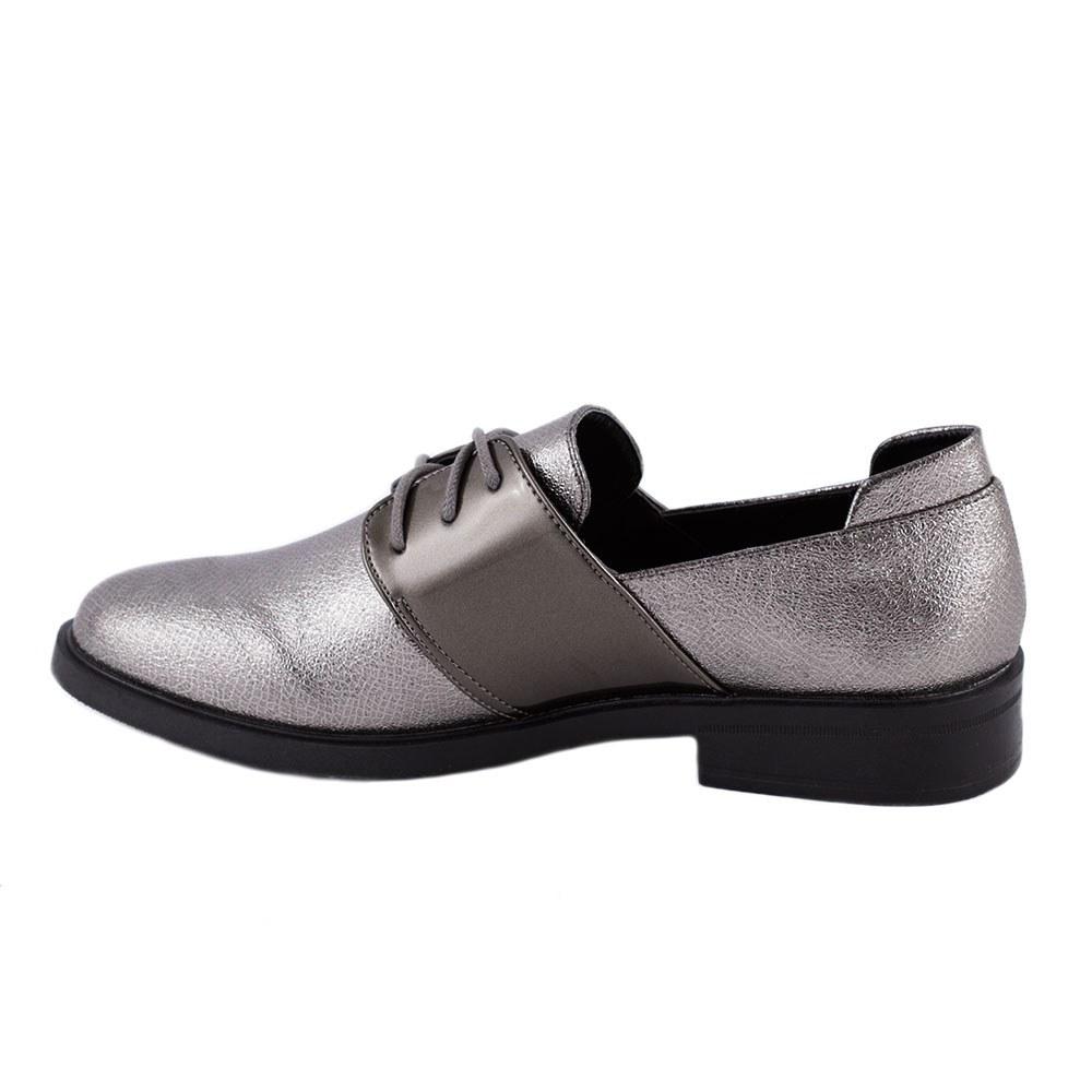Pantofi de dama comozi cu siret L-5-PEWTER