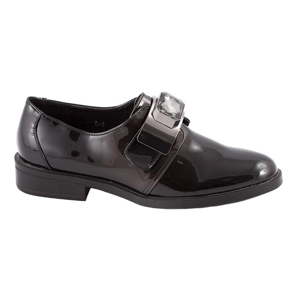 Pantofi dama casual lacuiti L-6-NEGRU