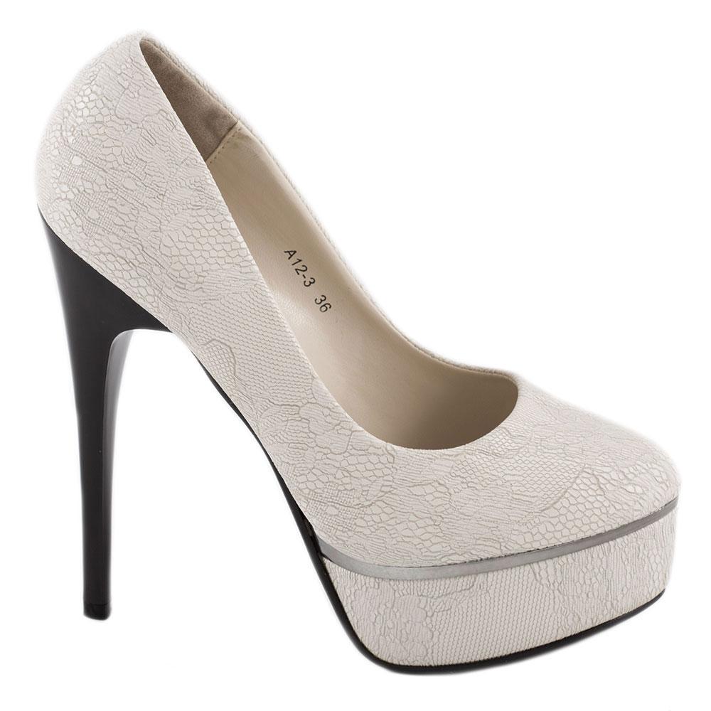 Pantofi dama cu paltforma A12-3-WHITE