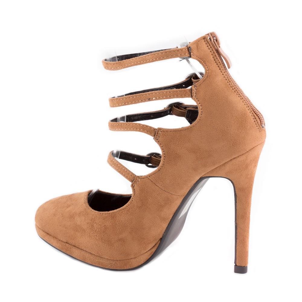 Pantofi dama cu toc si barete XQ98905-CAMEL