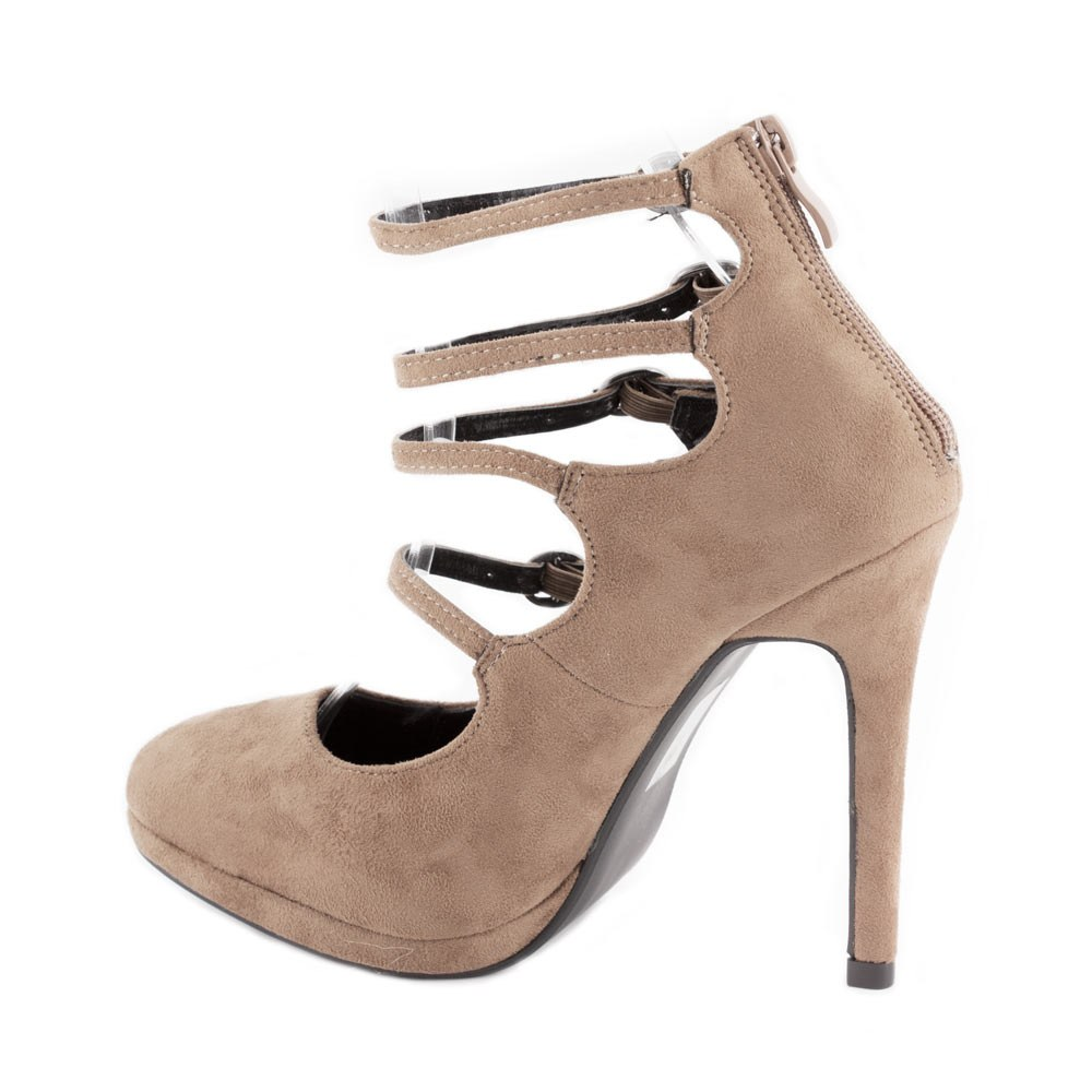 Pantofi dama cu toc si barete XQ98905-KAKI