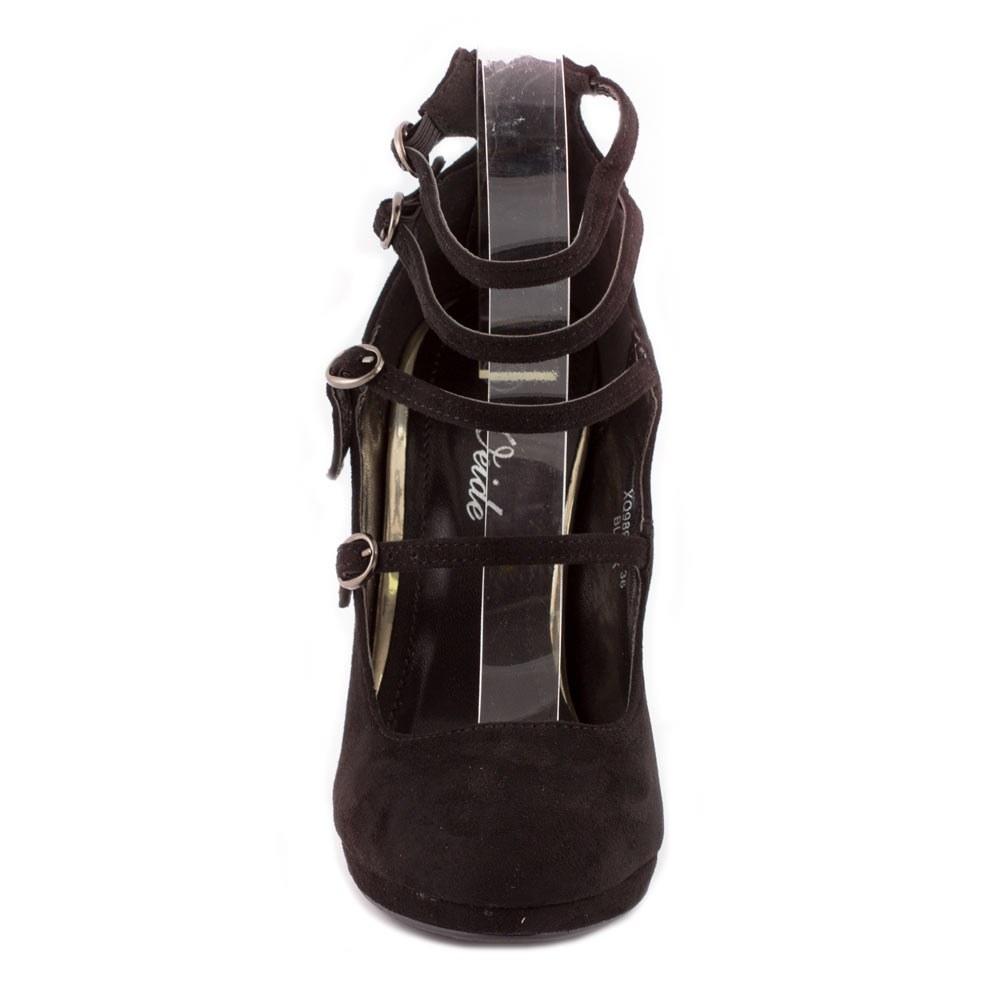 Pantofi dama cu toc si barete XQ98905-NEGRU