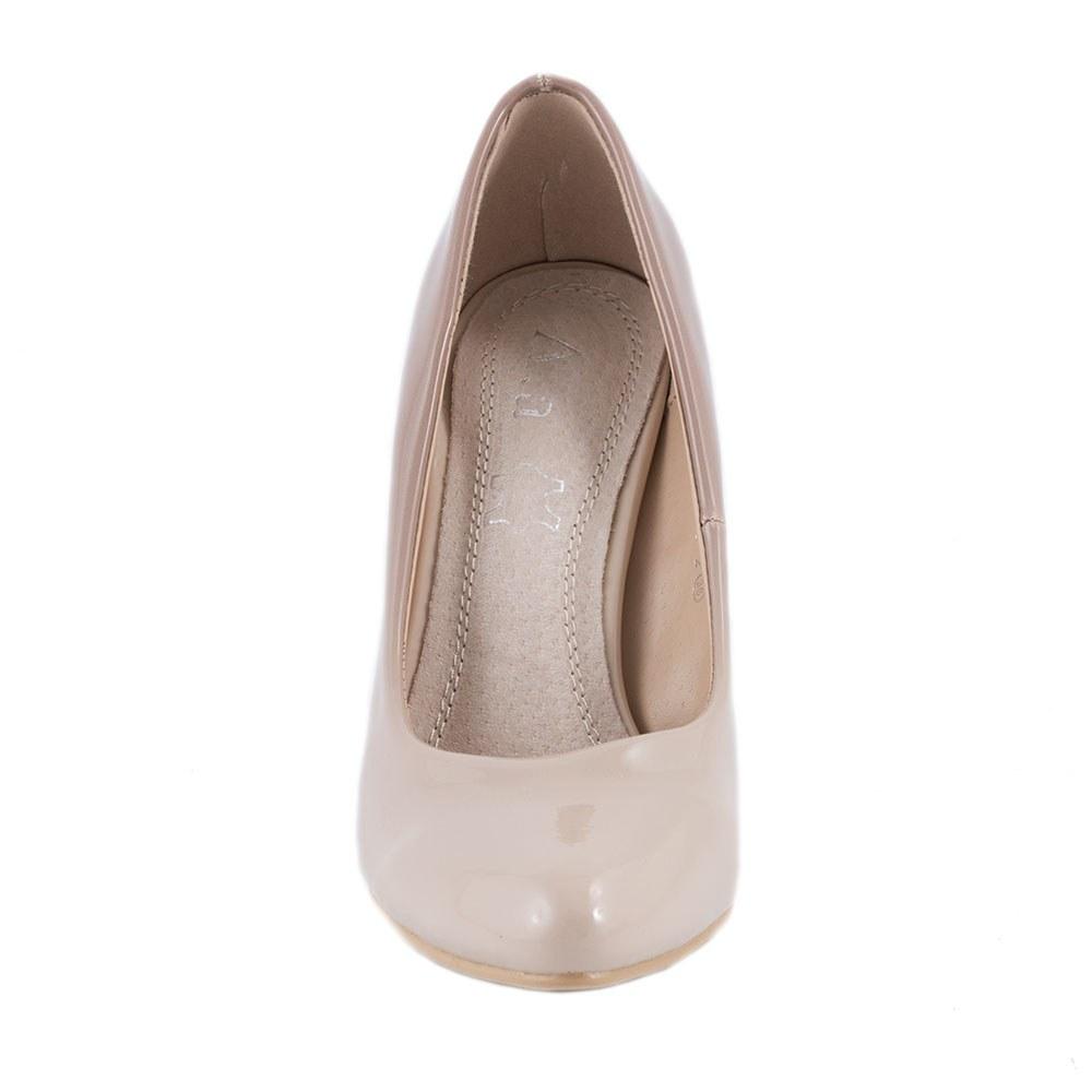 Pantofi de dama cu toc accesorizat 135-2-BEJ