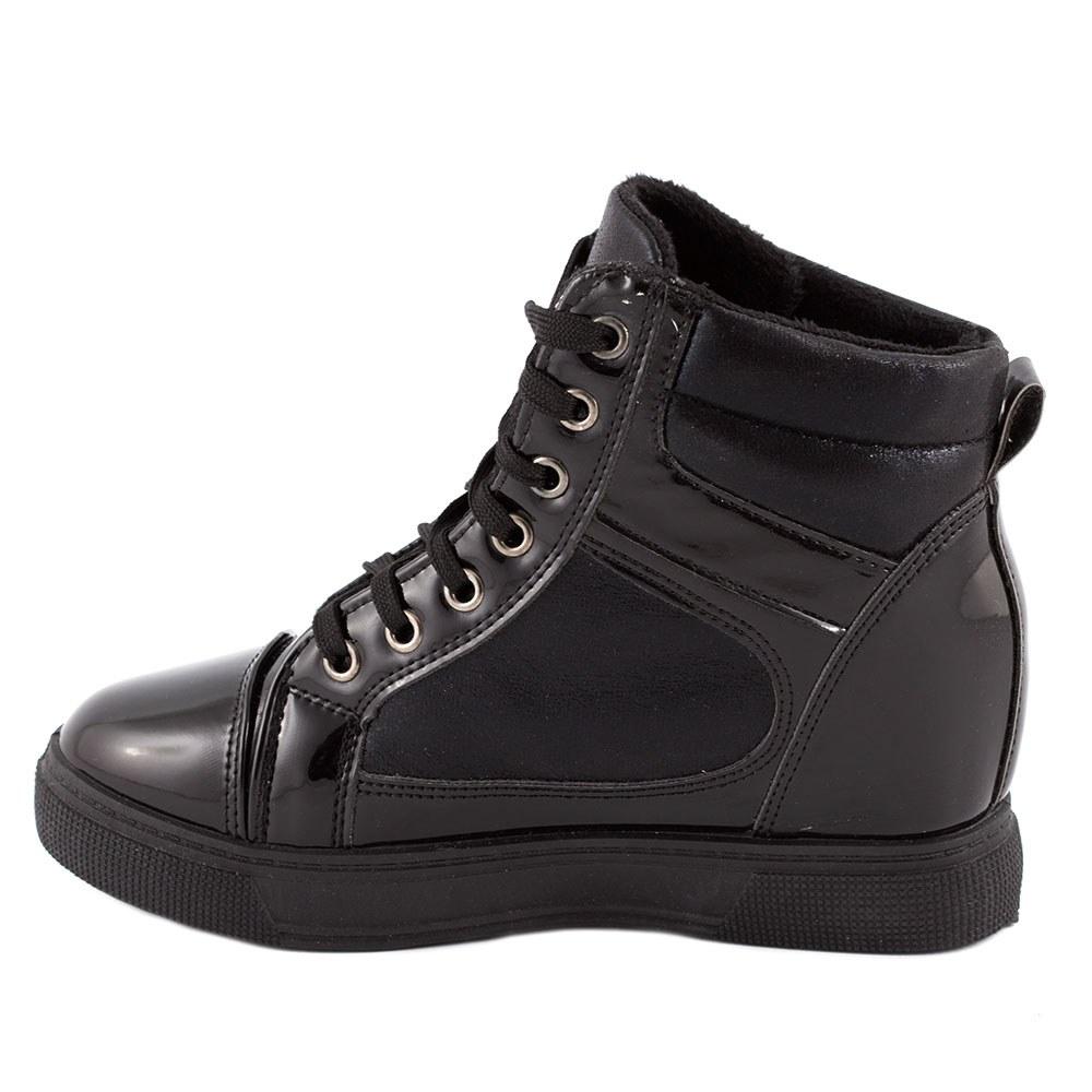 Sneakers dama cu talpa ortopedica ascunsa A-61-NEGRU