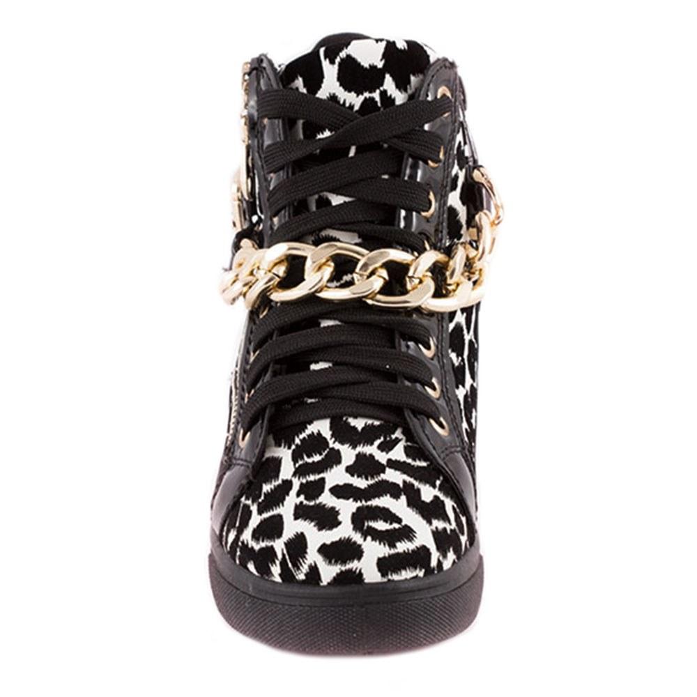 Sneakers dama cu talpa dreapta 168-LEOPARD