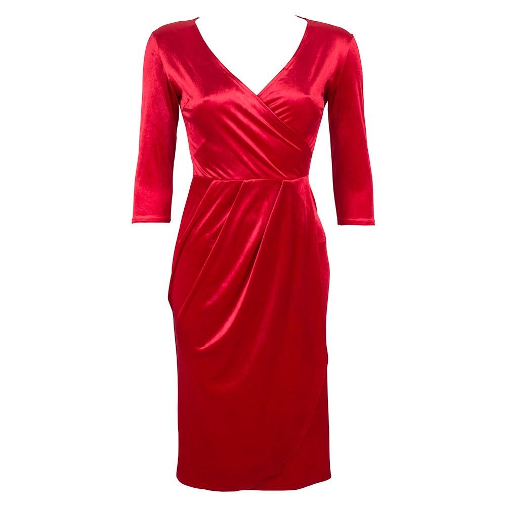 Rochie dama rosie din catifea VM-2127-R