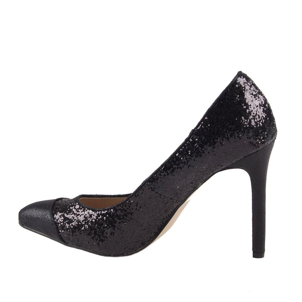 Pantofi dama eleganti cu glitter Q305-5-NEGRU