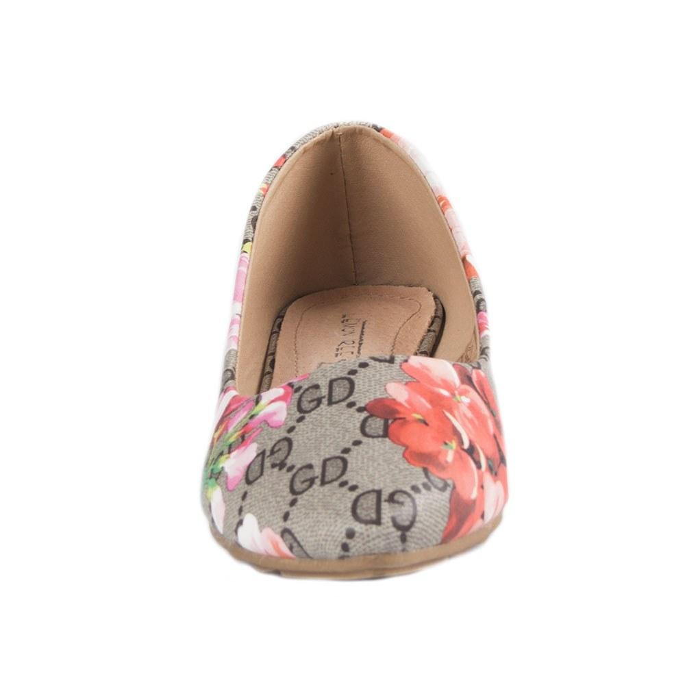 Balerini de dama cu imprimeu floral PM907-4-GRI