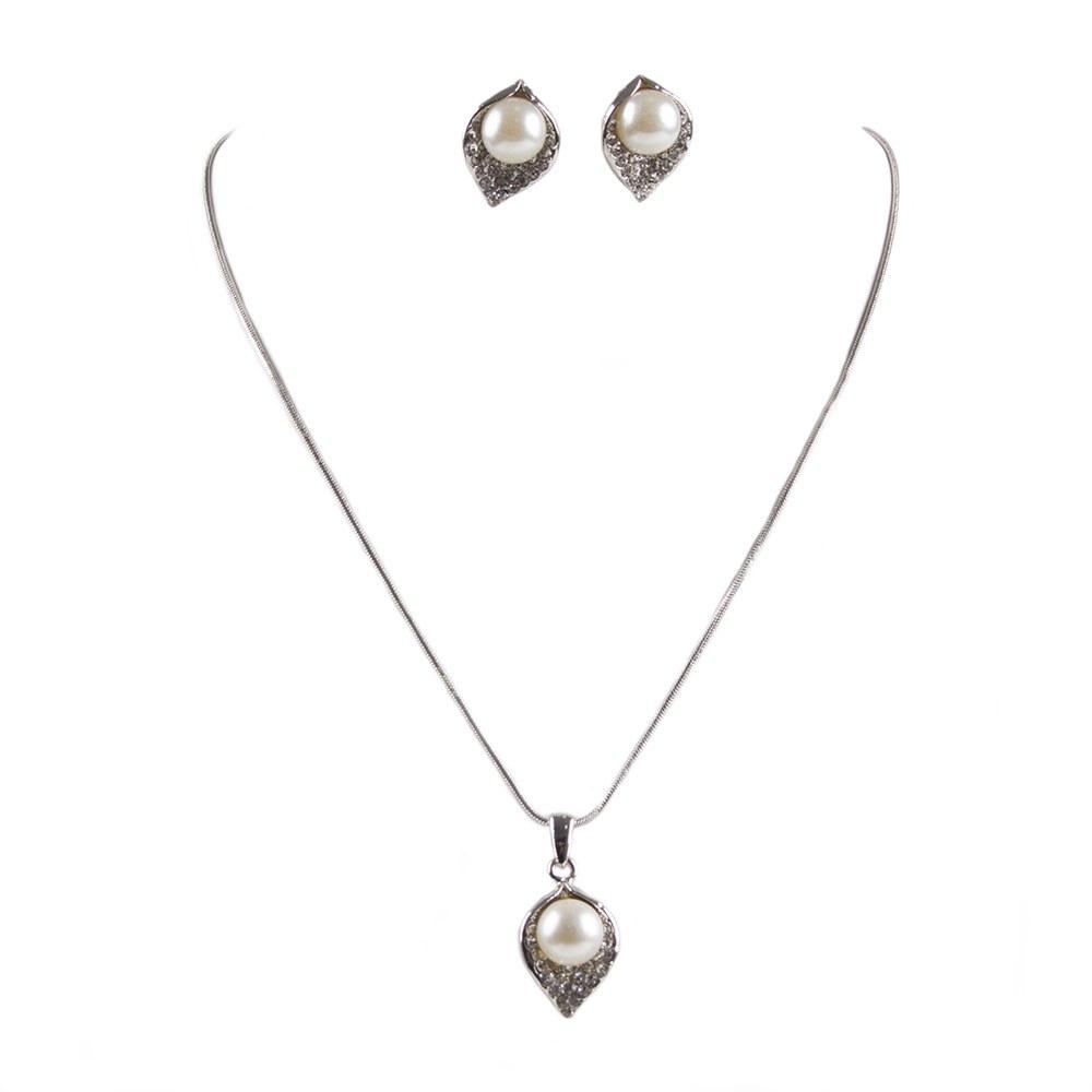 Set argintiu colier cu cercei JEW-150