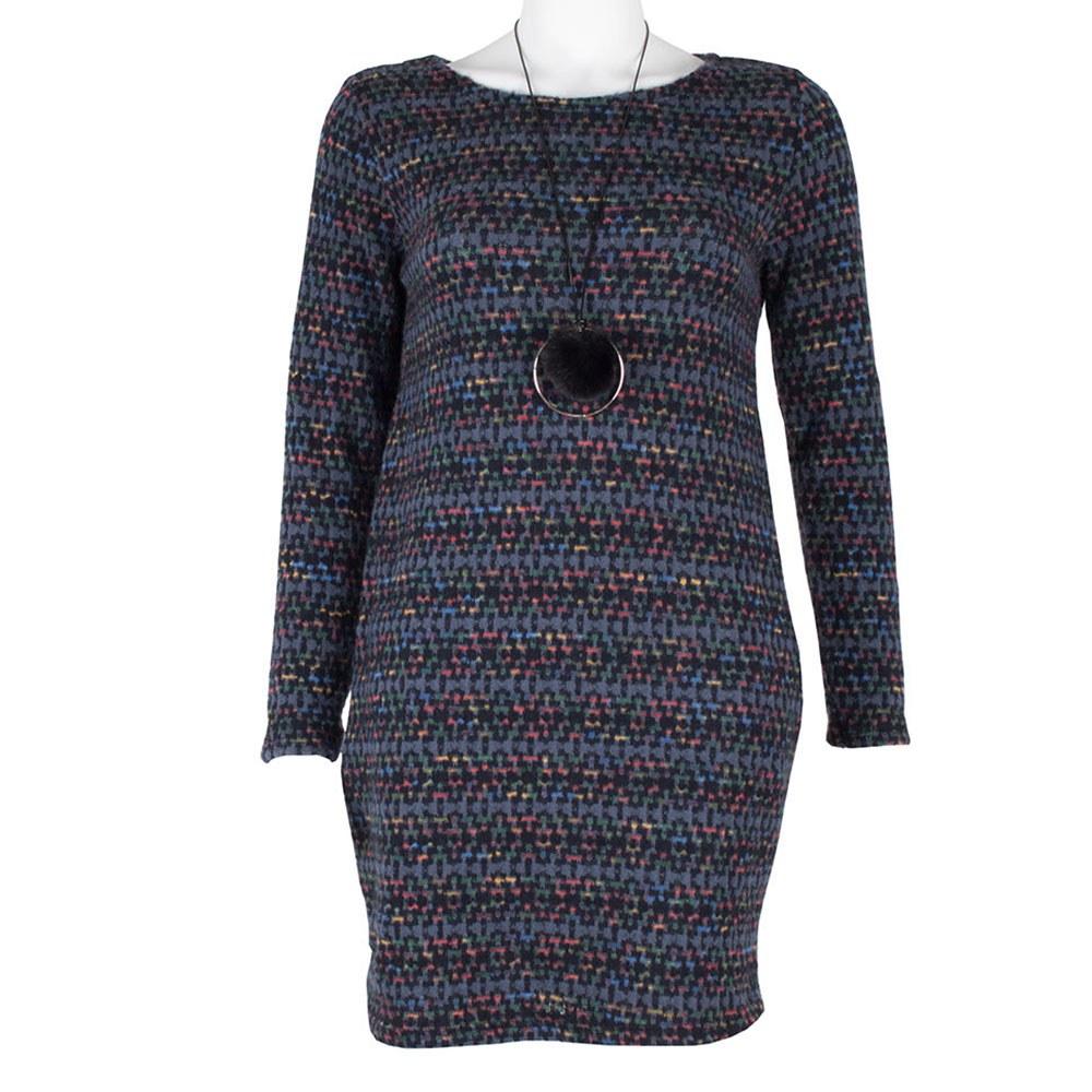 Rochie tricotata albastra cu buzunare ascunse 1739-AT