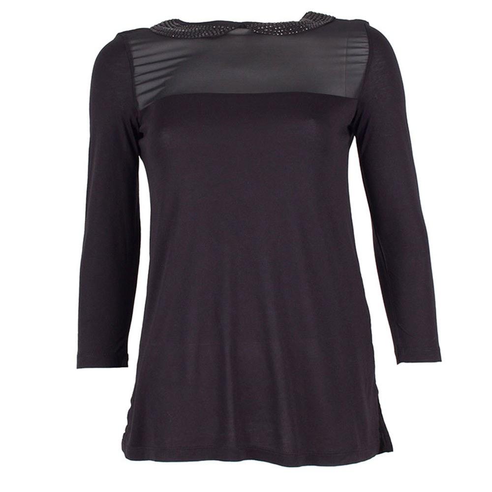 Bluza dama neagra cu pietre pe guler MOH-195