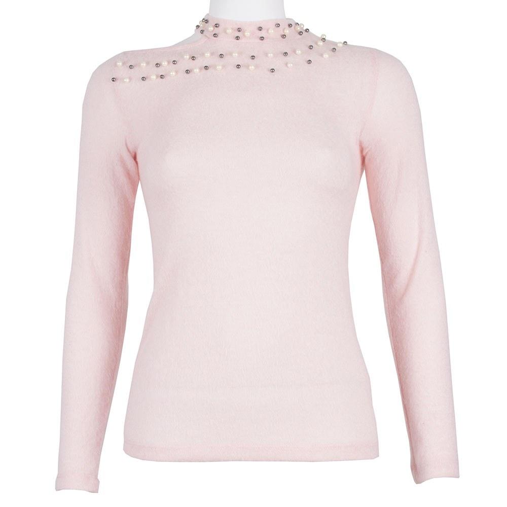 Bluza dama roz cu margele aplicate RM-125