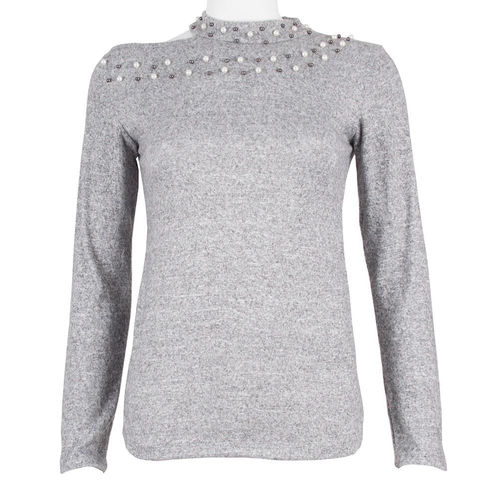 Bluza de dama gri cu margele aplicate RM-126