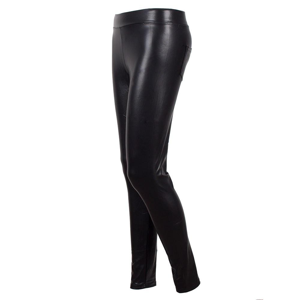 Pantaloni dama slim din vinil cu buzunare la spate CBV1251