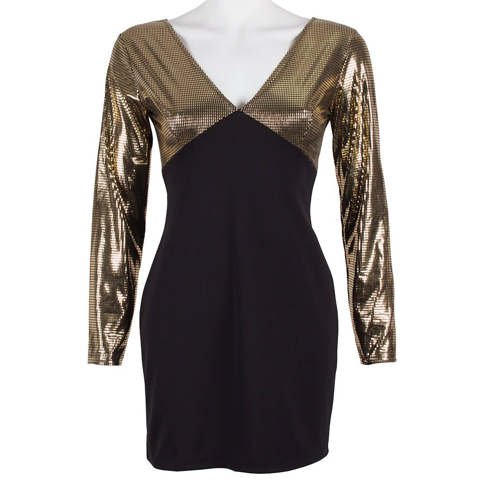 Rochie de dama neagra scurta cu maneci aurii XA-723-N