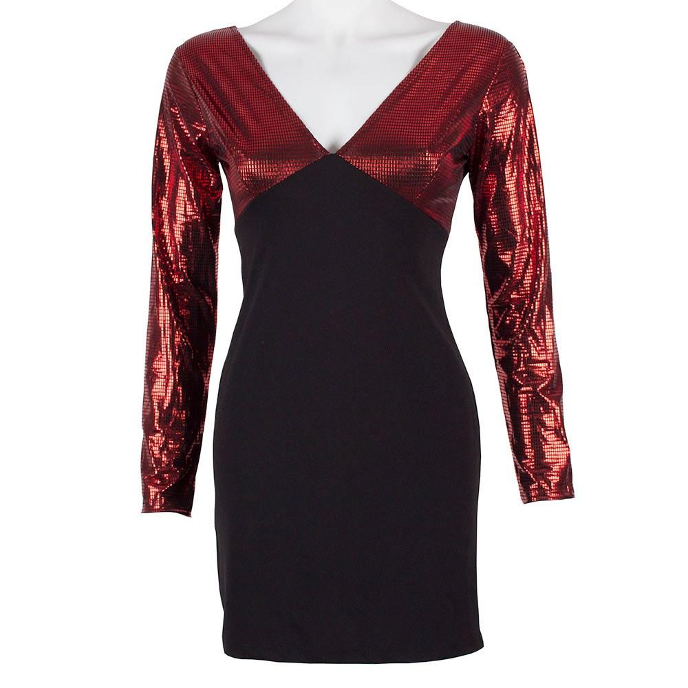 Rochie dama neagra scurta cu maneci rosii stralucitoare XA-724-R