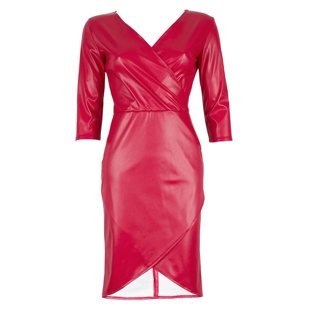 Rochie dama rosie din piele ecologica XB-1213-R