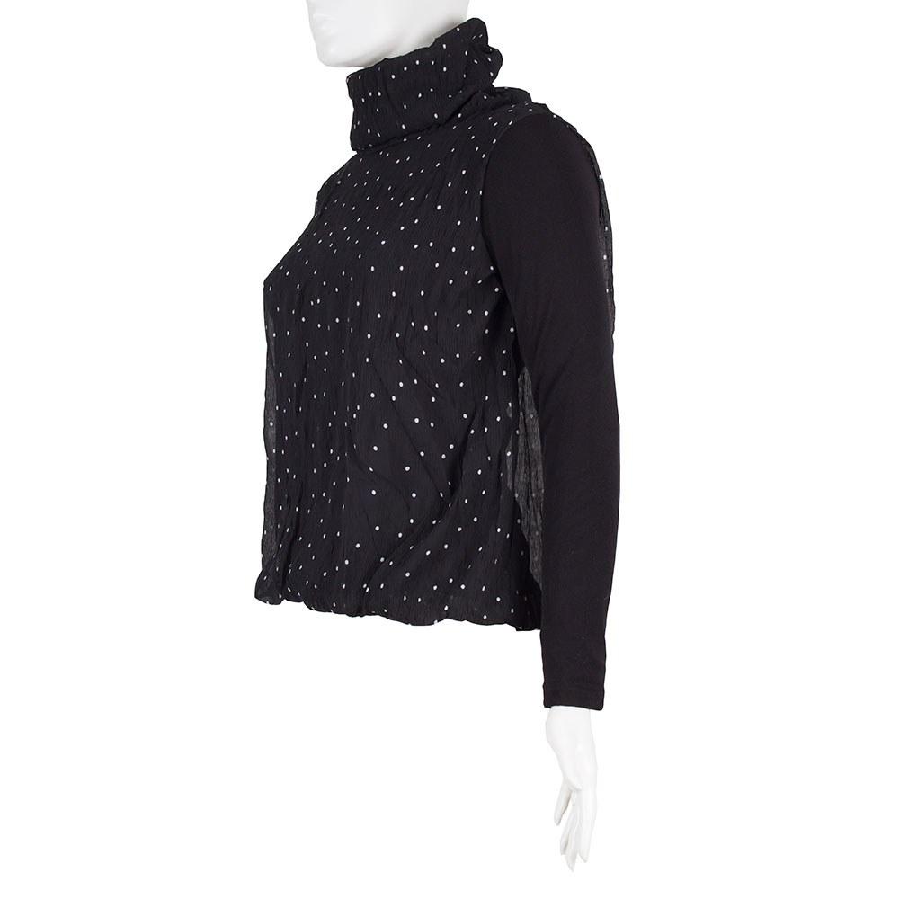 Bluza dama neagra cu buline si guler inalt GB-401-N