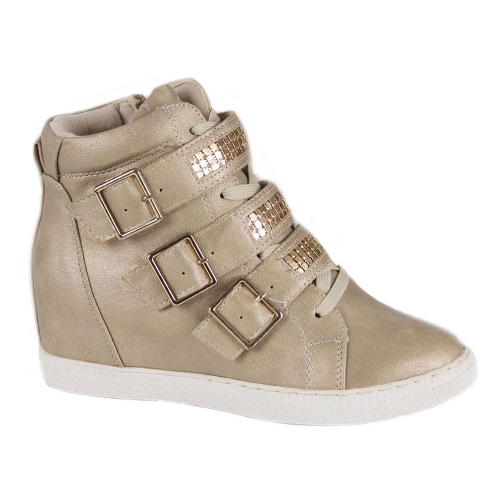 Sneakers dama cu talpa ortopedica si catarame aurii W0533-B
