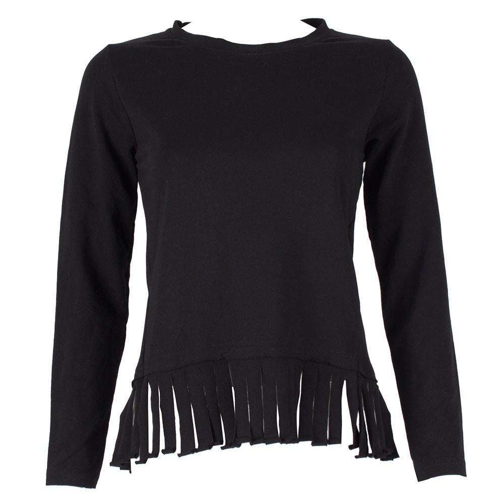 Bluza dama neagra cu franjuri BF-112-N