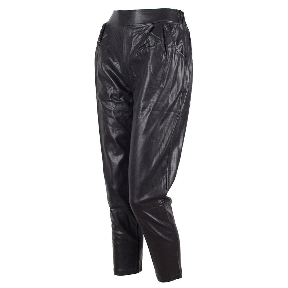 Pantaloni dama negri din piele ecologica cu buzunare laterale PEC-151-N