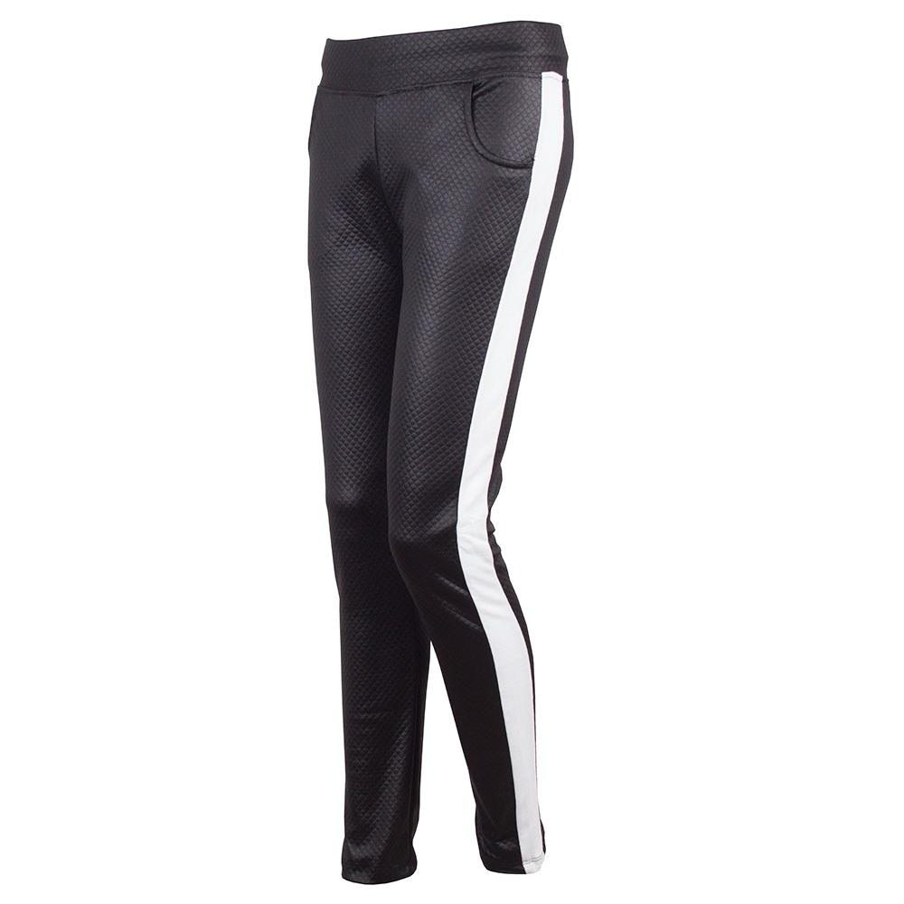 Pantaloni dama negri cu vipusca alba si buzunare BZ-0204-N