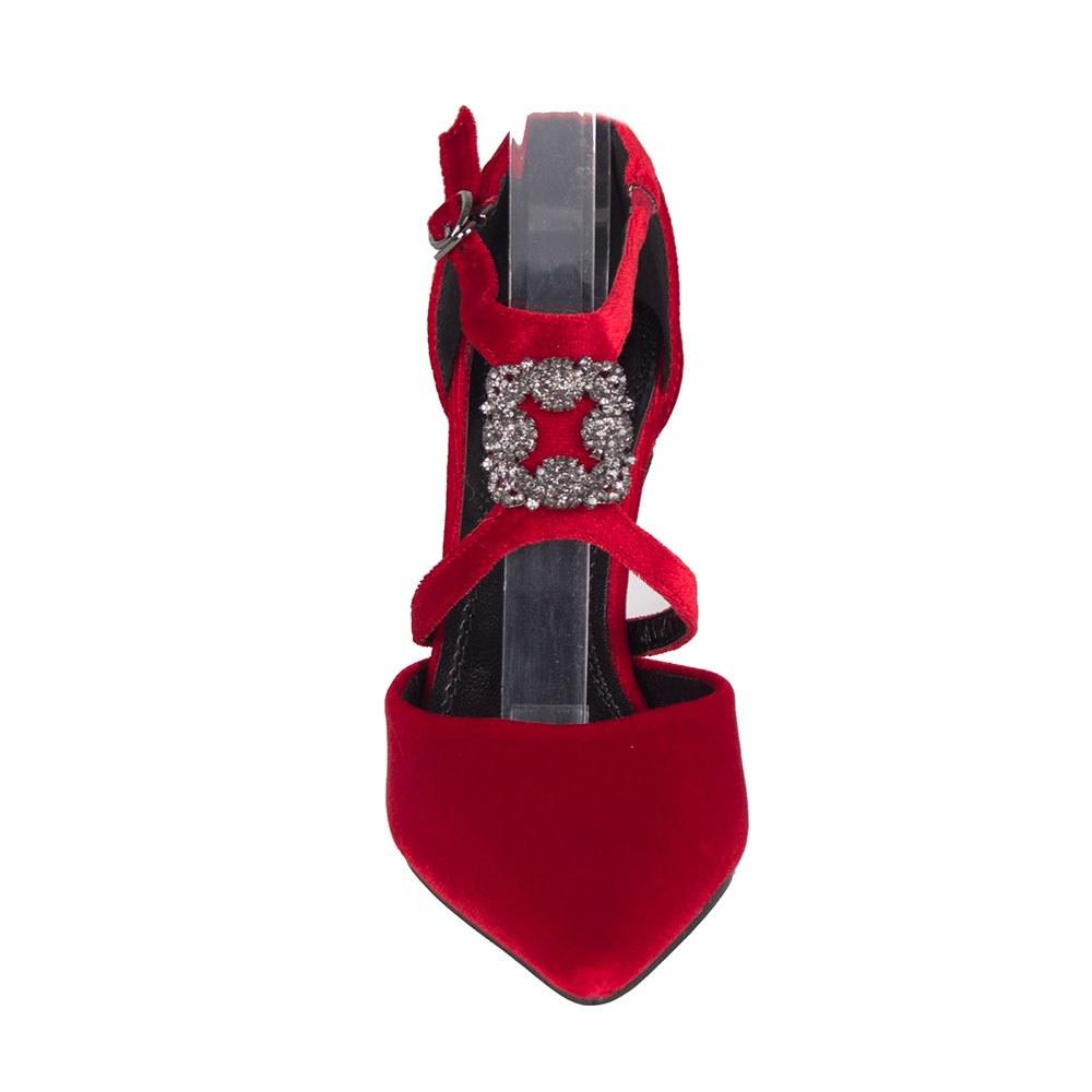 Pantofi dama cu barete si accesoriu cu pietre M9090-1-R