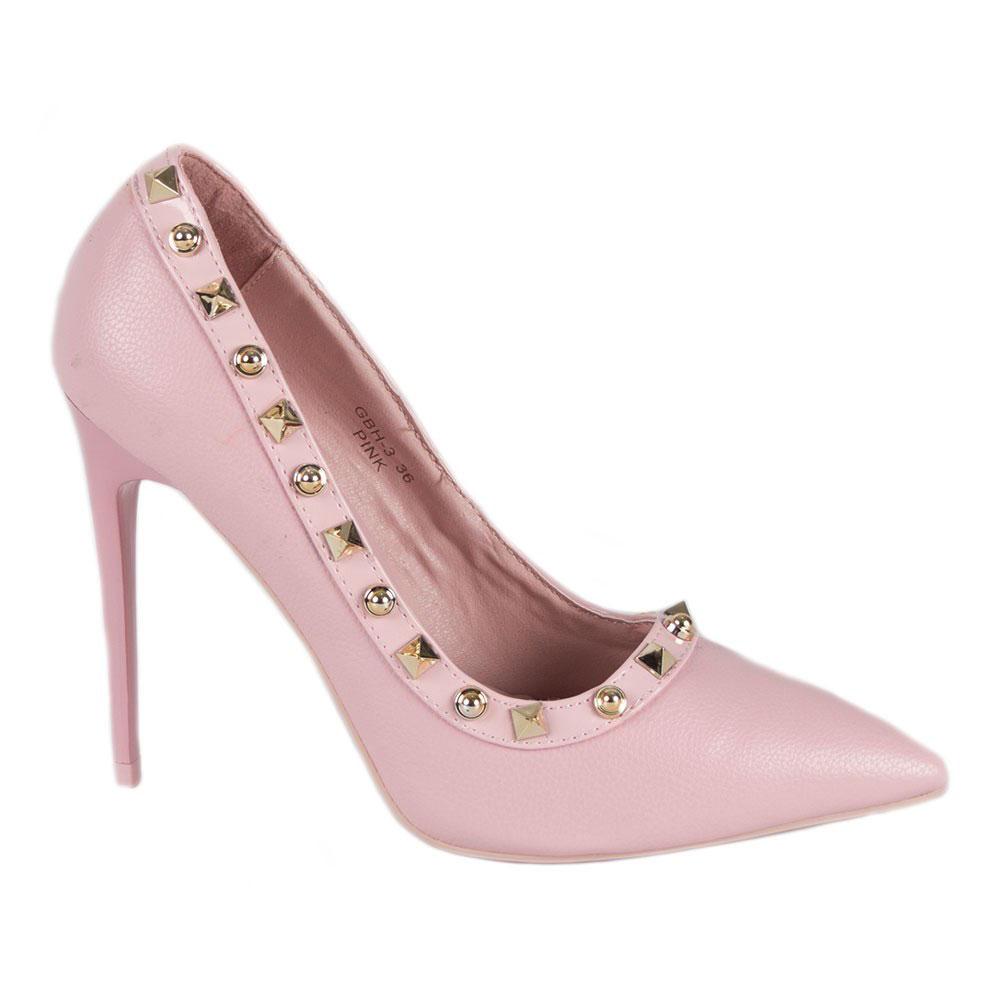 Pantofi dama roz cu toc inalt si subtire GBH-3-R