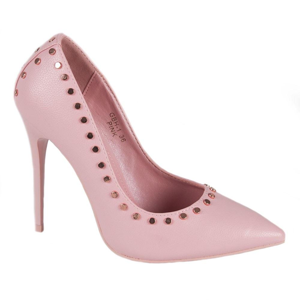 Pantofi dama roz cu toc subtire si capse aurii GBH-1-R