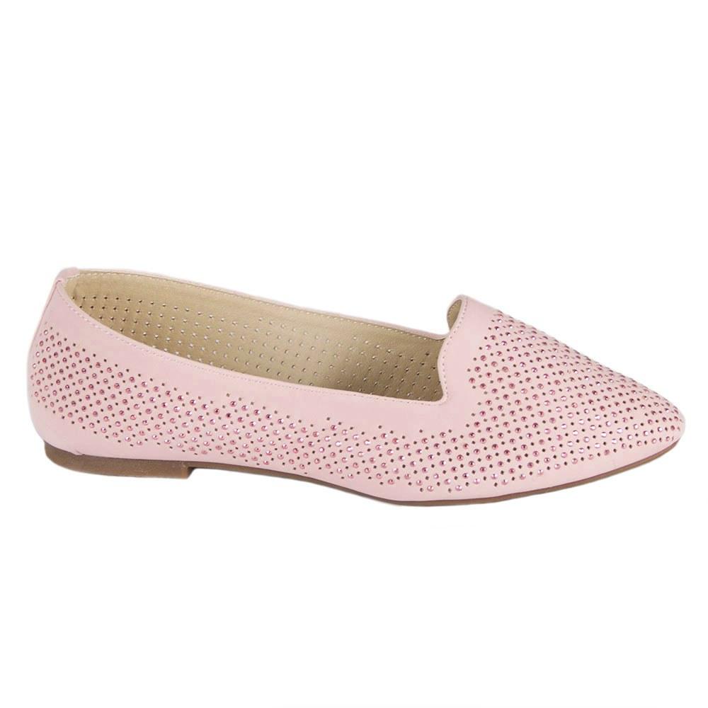 Balerini de dama roz perforati cu pietre aplicate 528-4-R