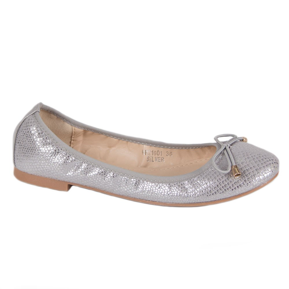 Balerini de dama argintii cu fundita HR21601-S