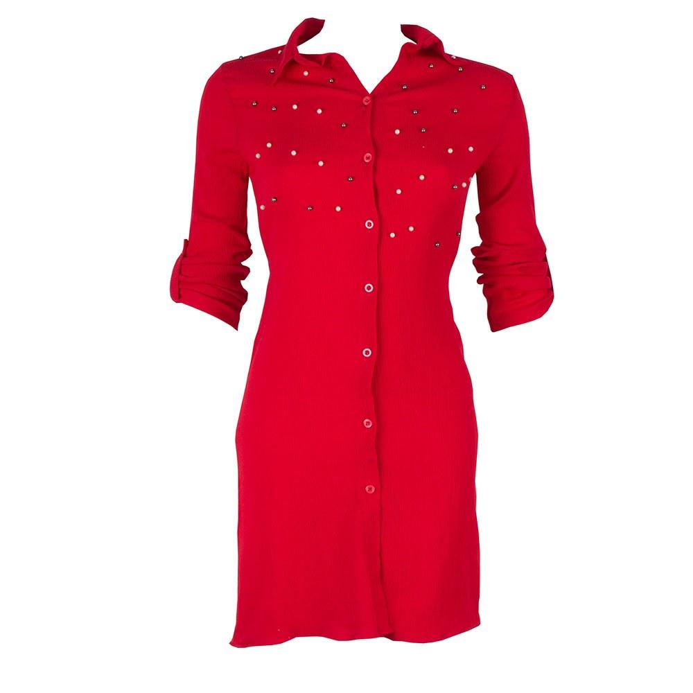 Tunica dama rosie cu margele si cordon 141-3-R
