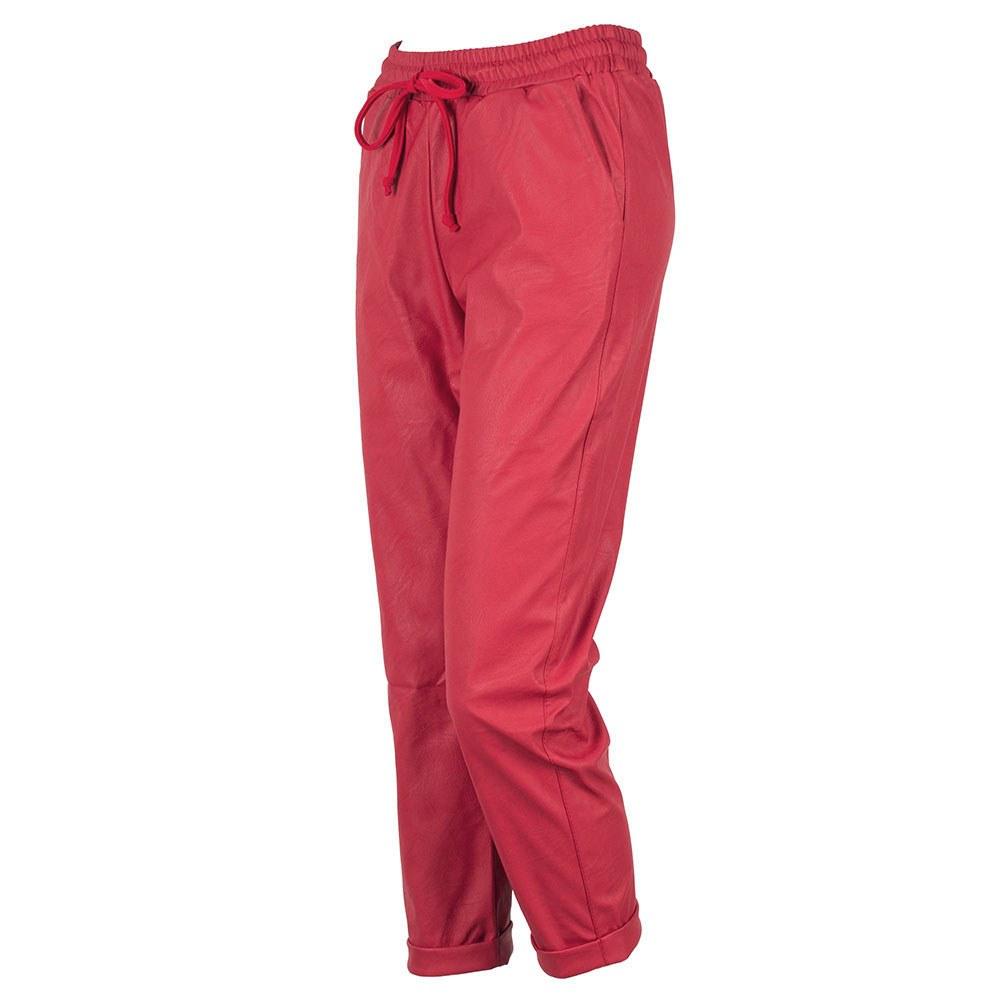 Pantaloni dama rosii din piele ecologica cu siret RC-500-R