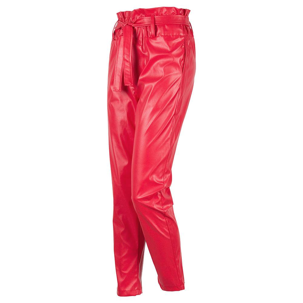 Pantaloni dama rosii din vinil cu talie inalta RC-555-R