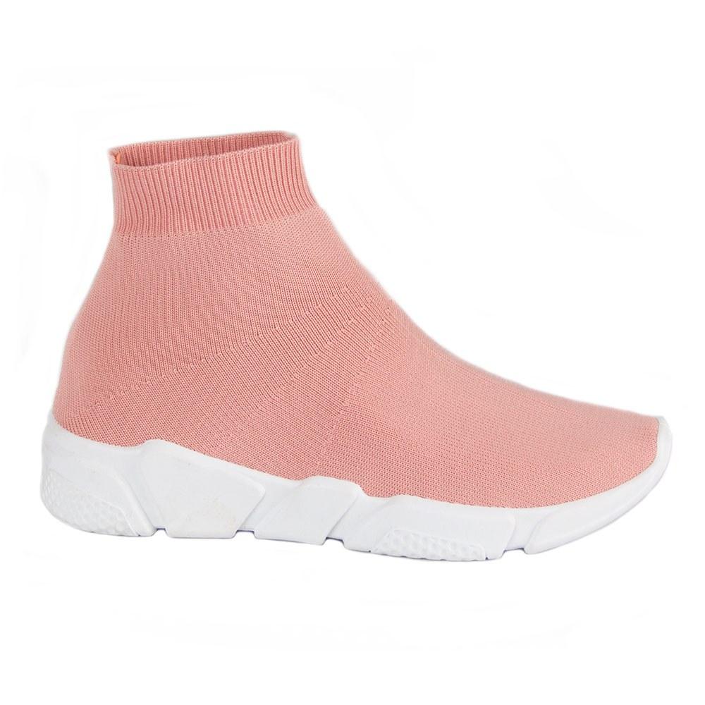Sneakers de dama roz din material elastic NB122P-R