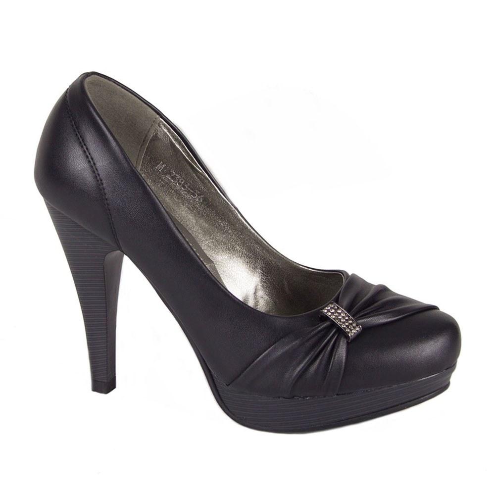 Pantofi dama cu platforma si accesoriu cu pietre TM-2383