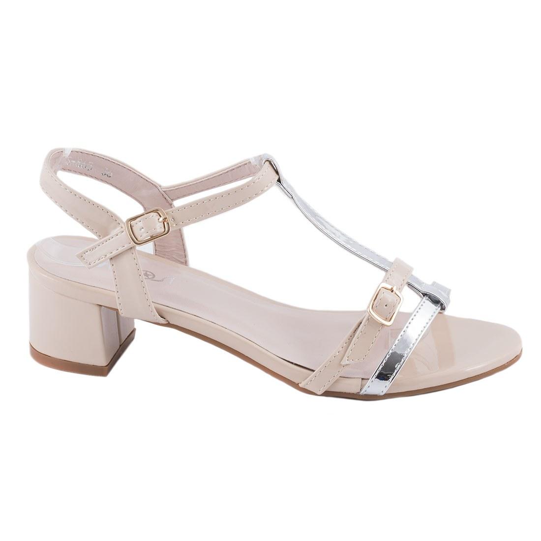 Sandale de dama bej cu toc GRS-865-A-O
