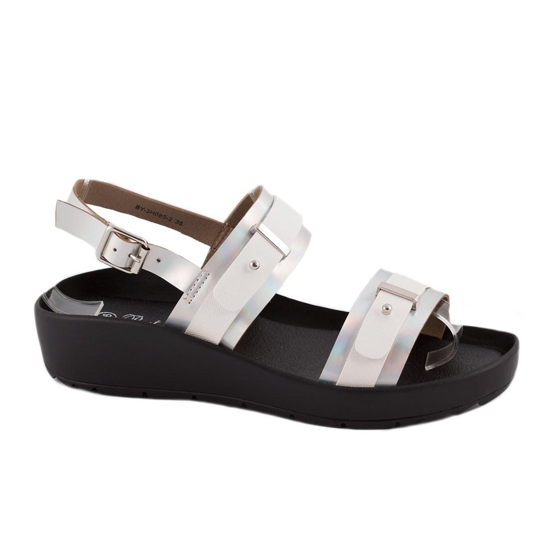 Sandale de dama cu talpa joasa BY-3H085-2-ALB-O