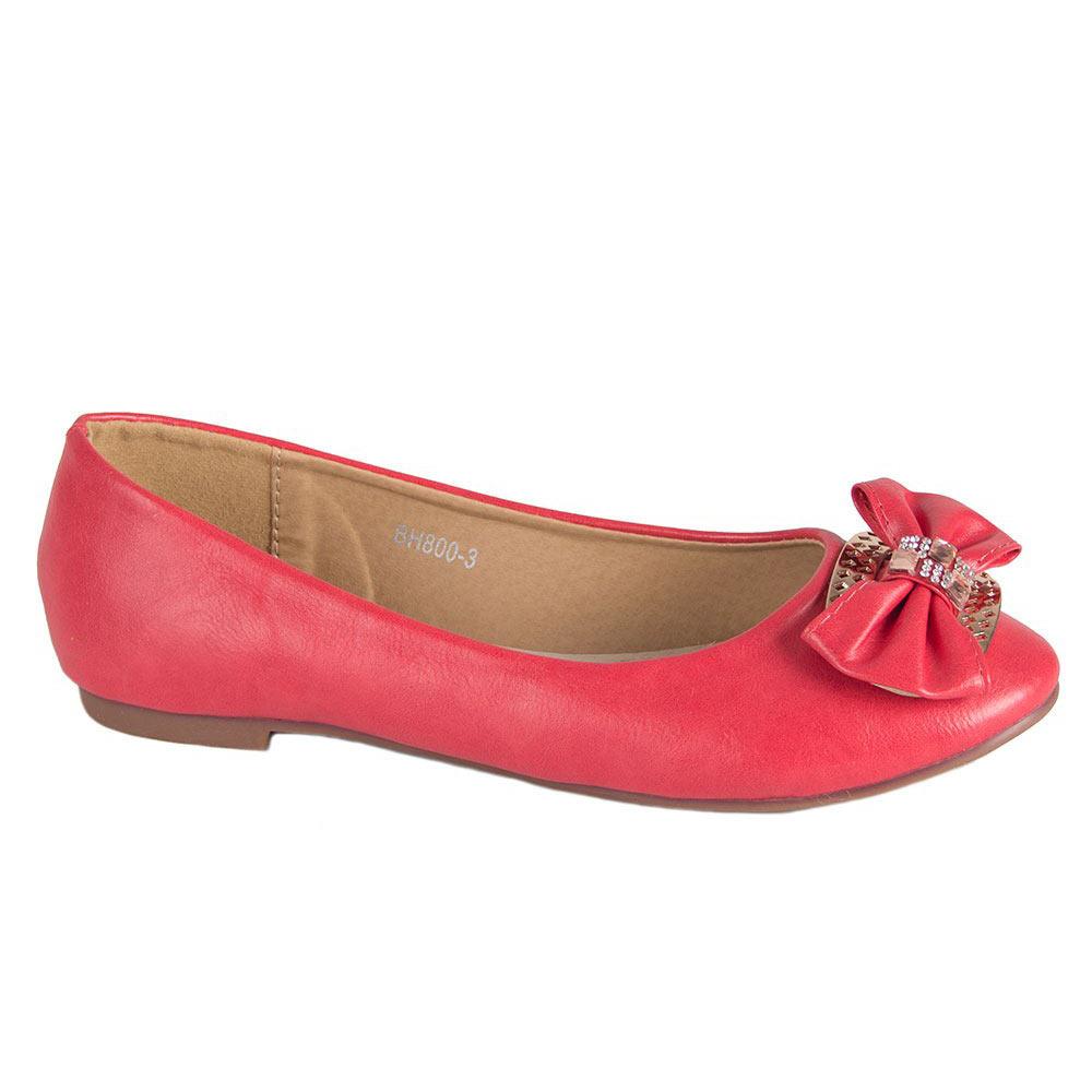Balerini dama rosii accesorizati cu funda BH800-3-R