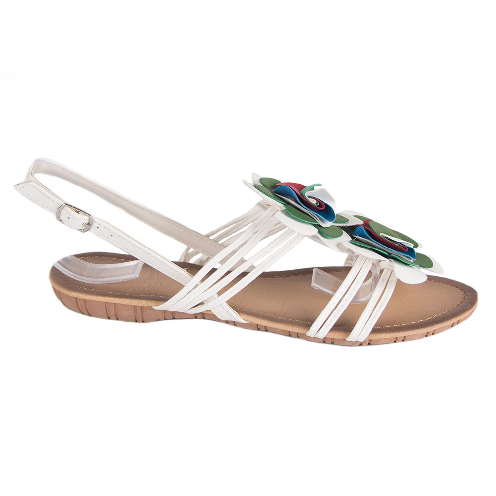 Sandale de dama albe cu barete 1-3040-A